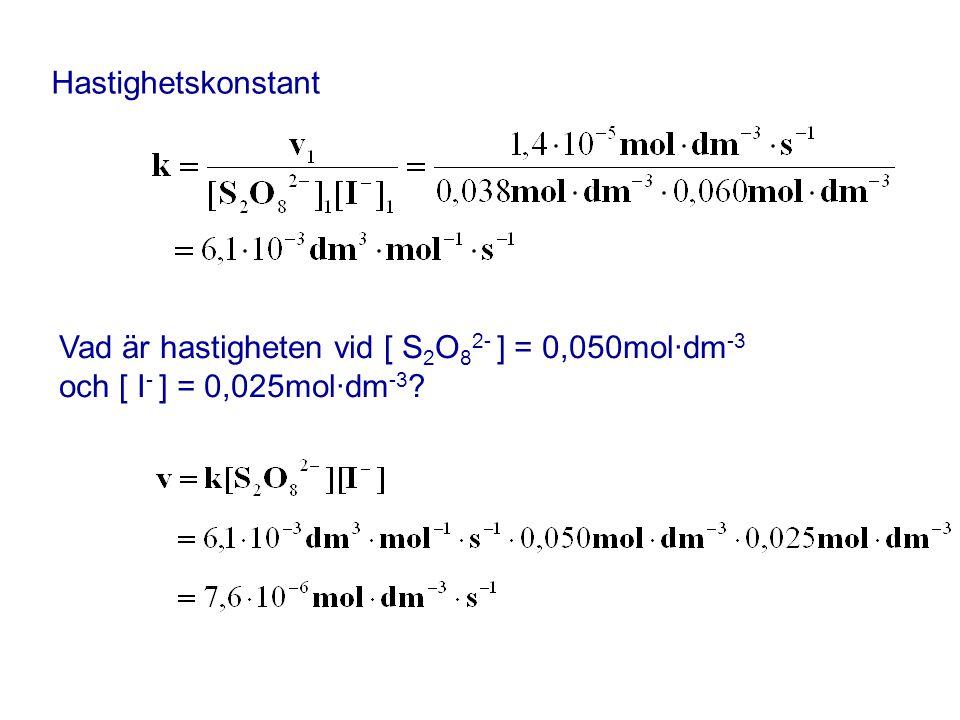 Hastighetskonstant Vad är hastigheten vid [ S2O82- ] = 0,050mol·dm-3 och [ I- ] = 0,025mol·dm-3